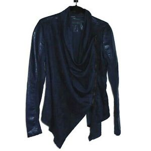 Blank NYC Navy Blue Suede Draped Jacket